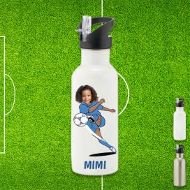 white water bottle with footballer image