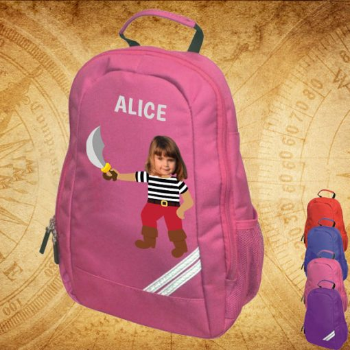 pink backpack with pirate image