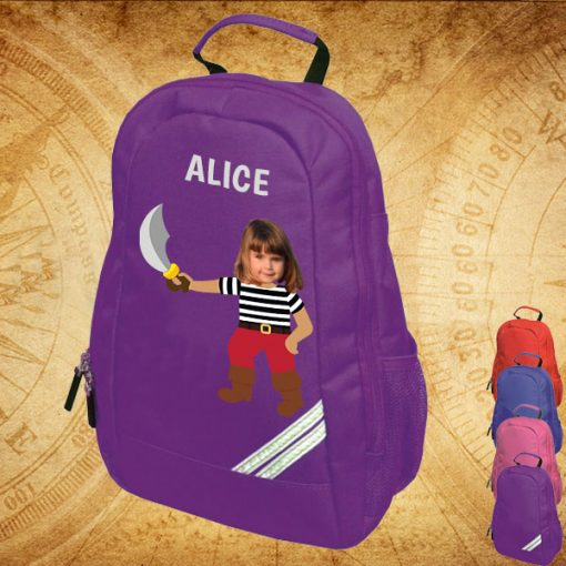 purple backpack with pirate image