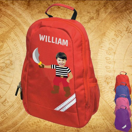 red backpack with pirate image