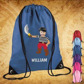 blue drawstring bag with pirate image