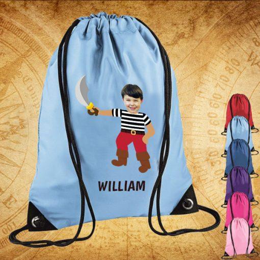 sky blue drawstring bag with pirate image