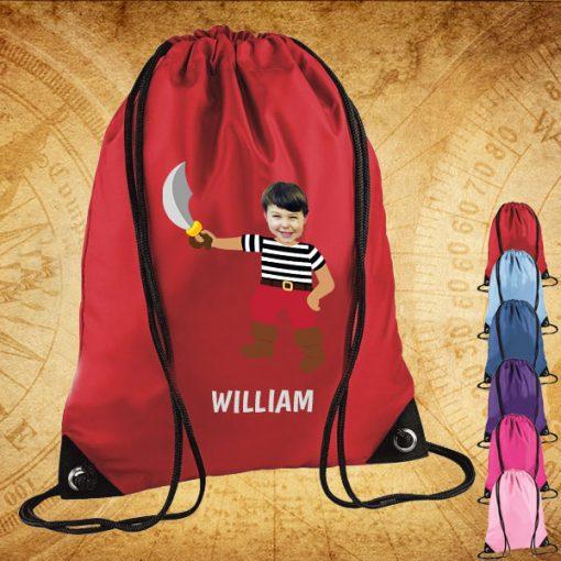 red drawstring bag with pirate image