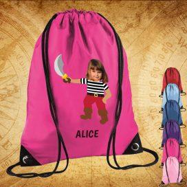 pink drawstring bag with pirate image