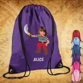 purple drawstring bag with pirate image