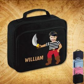 black lunch bag with pirate image