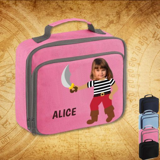 pink lunch bag with pirate image