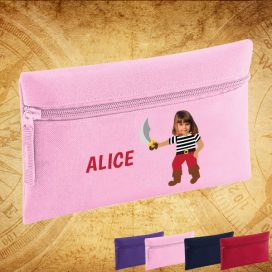 pink pencil case with pirate image