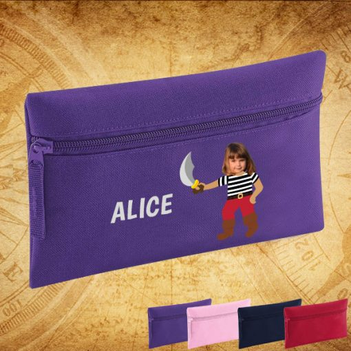 purple pencil case with pirate image