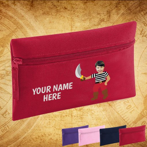 red pirate pencil case