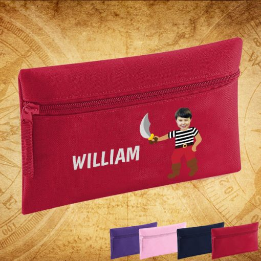 red pencil case with pirate image