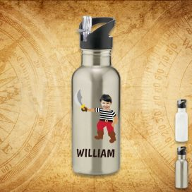 silver water bottle with pirate image