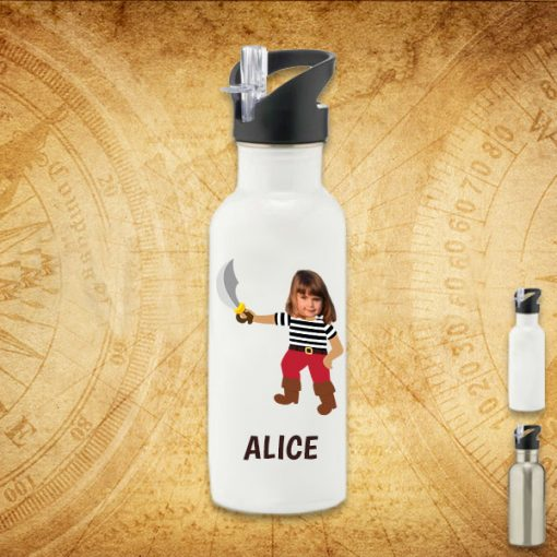 white water bottle with pirate image