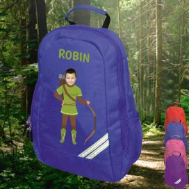 blue backpack with robin hood image