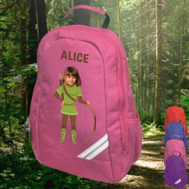 pink backpack with robin hood image