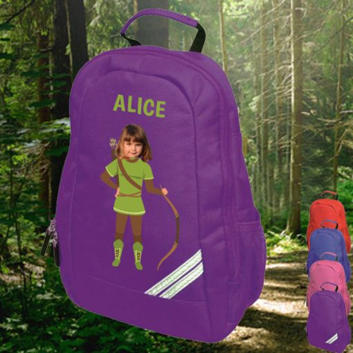 purple backpack with robin hood image
