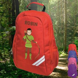 red backpack with robin hood image