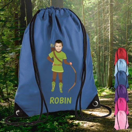 blue drawstring bag with robin hood image