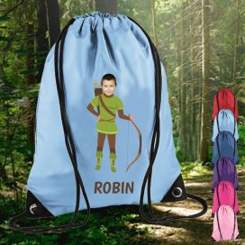 sky blue drawstring bag with robin hood image