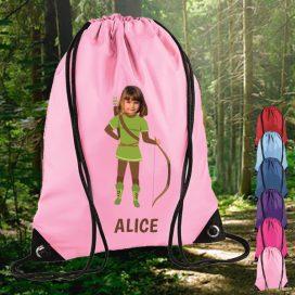 light pink drawstring bag with robin hood image