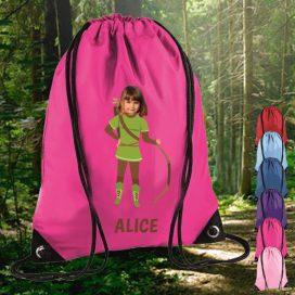 pink drawstring bag with robin hood image