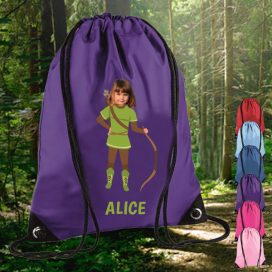 pruple drawstring bag with robin hood image