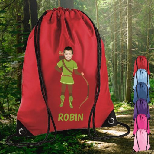 red drawstring bag with robin hood image