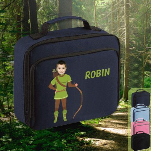 navy lunch bag with robin hood image