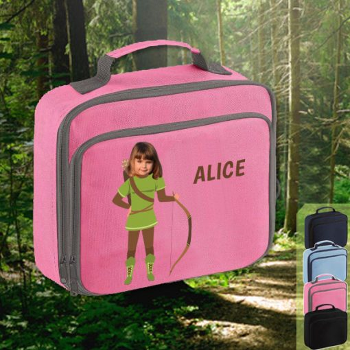 pink lunch bag with robin hood image