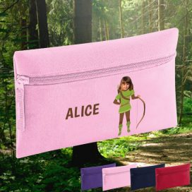 pink pencil case with robin hood image