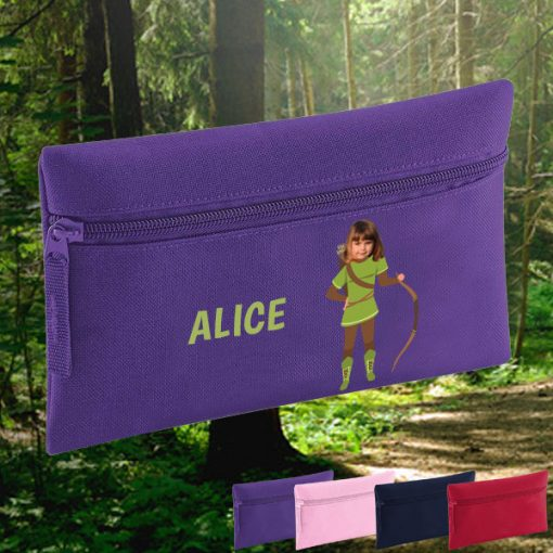 purple pencil case with robin hood image