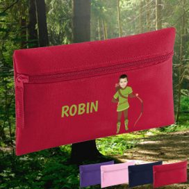 red pencil case with robin hood image