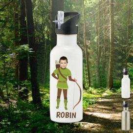 white water bottle with robin hood image