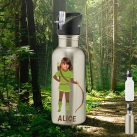 silver water bottle with robin hood image