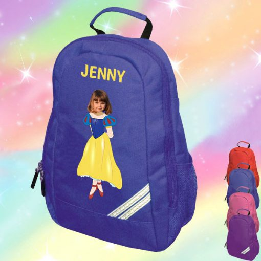 blue backpack with snow white image