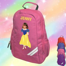 pink backpack with snow white image
