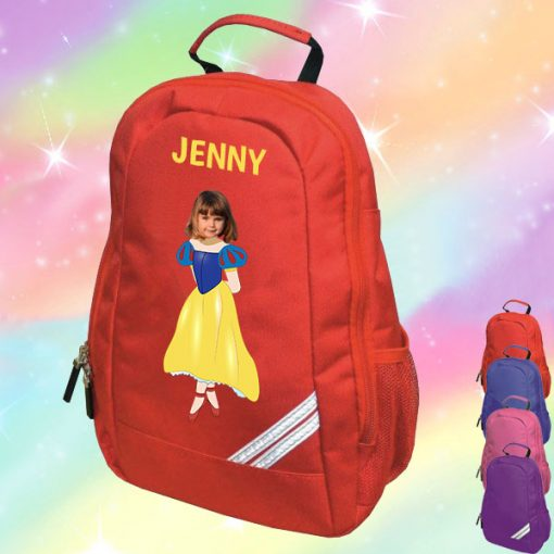 red backpack with snow white image