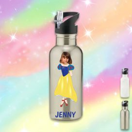 silver water bottle with snow white image