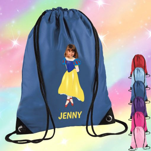 blue drawstring bag with snow white image