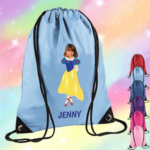 sky blue drawstring bag with snow white image