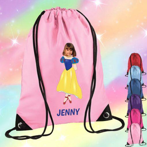 light pink drawstring bag with snow white image