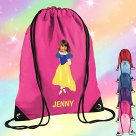 pink drawstring bag with snow white image