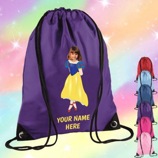 purple snow white drawstring bag