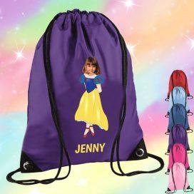 purple drawstring bag with snow white image