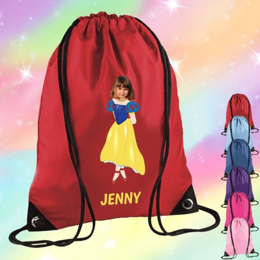 red drawstring bag with snow white image