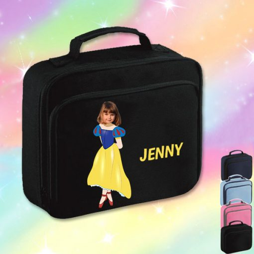 black lunch bag with snow white image