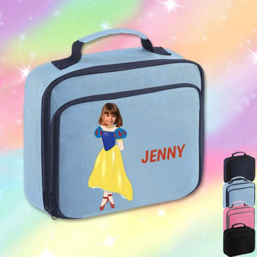 sky blue lunch bag with snow white image
