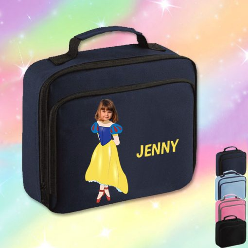 navy lunch bag with snow white image