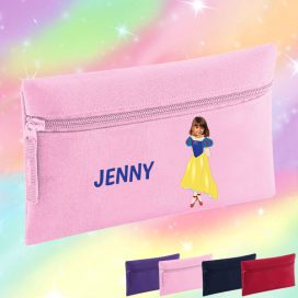 pink pencil case with snow white image
