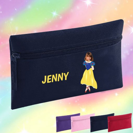 navy pencil case with snow white image